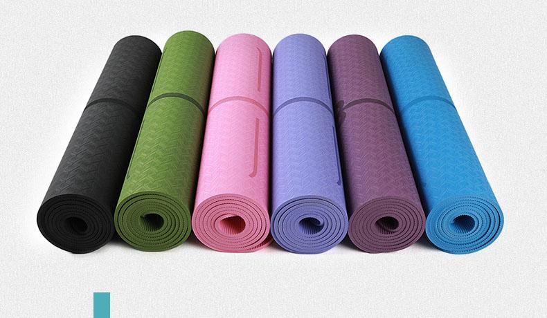 6mm Single Layer Body Line Anti-slip TPE Yoga Mat   FDT Rubber