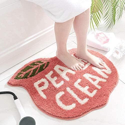 Fancy Cartoon Peach Flocking Carpet Floor Mat Home Bathroom Door Bathroom Non-Slip Mat Absorbent Foot Mat