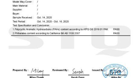 PAHs&CA65 certificate